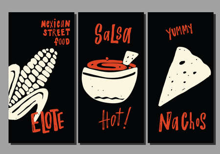 Traditional mexican street food. Set of hand drawn templates. Elote, nachos, salsa. Vector illustration