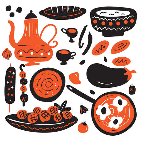 Illustration dessinée à la main drôle de la cuisine traditionnelle du Moyen-Orient. Isolé sur fond blanc. Conception de vecteur. Vecteurs