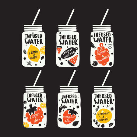 Collection of detox drinks, isolated on black background. Infused water. Hand drawn illustration and lettering. Vector.