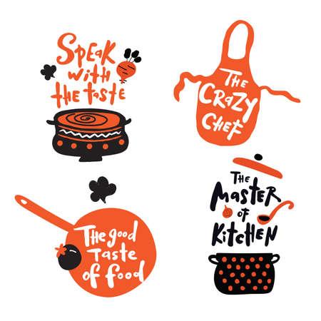 Ensemble de citations et de phrases écrites à la main sur la cuisine. Illustration de casserole, bol, tablier, fer à repasser. Style de griffonnage. Concept pour cours de cuisine, cours, cours, studio de restauration, restaurant.