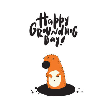Happy groundhog day. Funny greeting card made in Vector Illustration