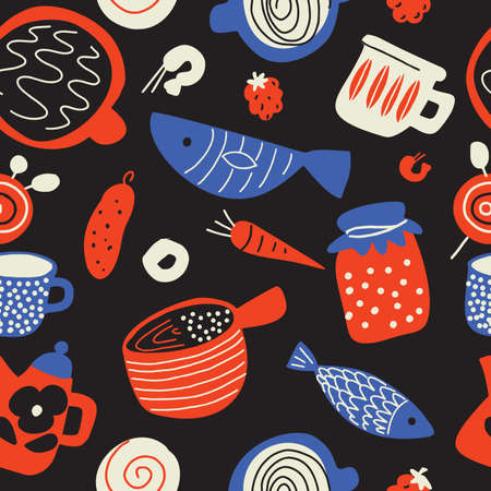 Funny food seamless pattern in sketch style. Scandinavian food and kitchen ware. Made in vector Çizim