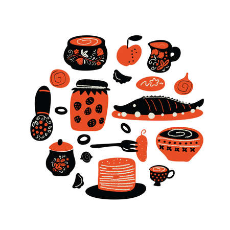 Russian traditional food. Funny circle hand drawn illustration with different dishes. Vector design. White background. Ilustração