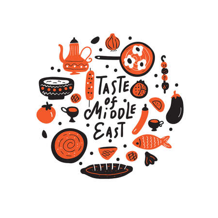 Middle eastern food. Hand drawn illustration in circle. Traditional cuisine concept. Vector Vetores