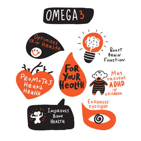Omega 3 healthy benefits. Funny hand drawn infographic s. Made in vector. Isolated on white.