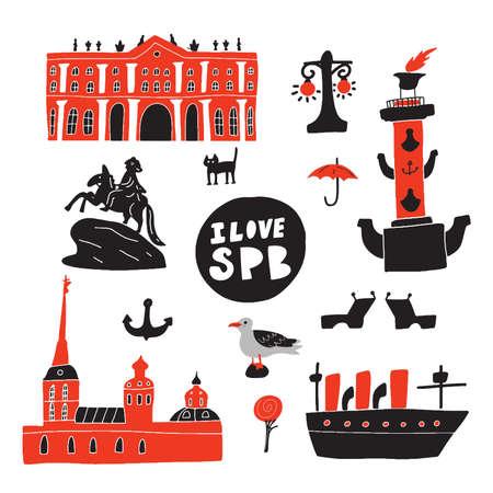 I love Saint Petersburg. Hand drawn illustration of different symbols and landmarks of saint petersburg. Vector design.