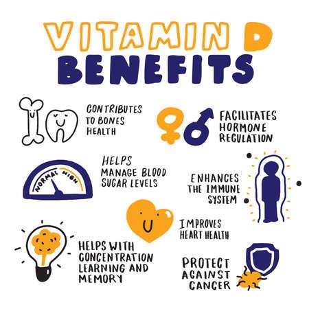 Benefici della vitamina D. Infografica disegnata a mano. Stile di schizzo. Vettore