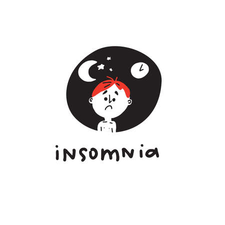 Insomnia. Funny hand drawn illustration of man suffers from insomnia. Vector