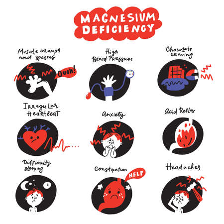 Funny hand drawn icons about magnesium deficiency symptoms. Vector
