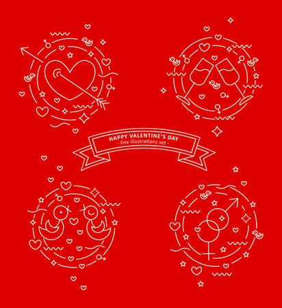 Set of line illustrations. Pierced heart, love doves, stemware, gender signs