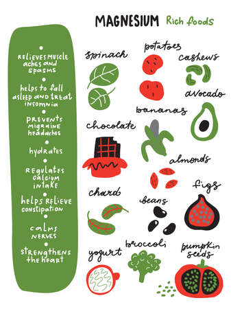 Magnesiumrich foods.Funny infographic poster about healthy benefits of magnesium and food which contains it. Vector Çizim