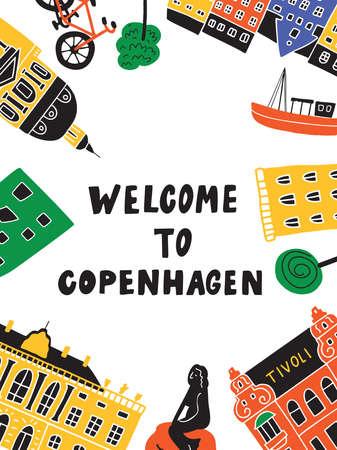 Welcome to Copenhagen. Funny hand drawn illustration of different copenhagen attractions. Flyer template. Vector.