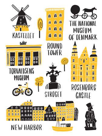 Set of copenhagen attractions in doodle style. Lettering. Made in vector.