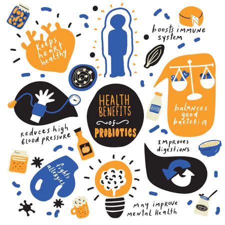 Beneficios para la salud de los probióticos. Cartel infográfico dibujado a mano. Vector. Garabatos