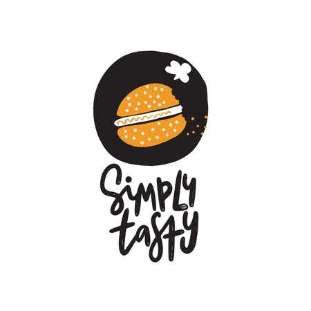 Simplemente sabroso. Ilustración divertida de hamburguesa en estilo doodle. Vector Ilustración de vector