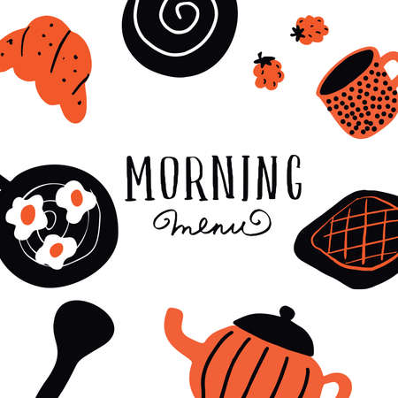 Morning menu. Template with funny hand drawn elements in scandinavian style. Vector. Doodles.