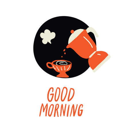 Good morning. Doodle illustration of coffee pot and cup. Vector.