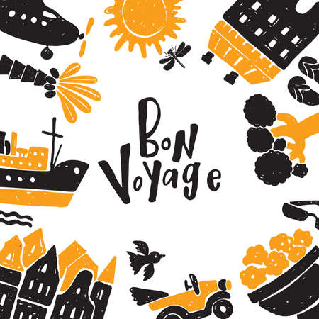 Bon voyage. Hand drawn set of different traveling elements. Sketch. Made in vector. Vetores
