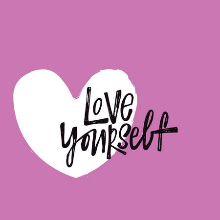 Love yourself. Vector hand lettering quote with illustration of heart. Pink background. Motivation