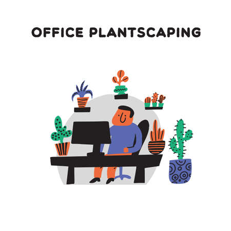 Office plantscaping. Vector illustration of a man sitting in his workplace with plants. Doodle style. Plantscaping service concept Ilustrace