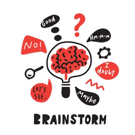 Brainstorm. Funny hand drawn illustration of brainstorming process. Brain inside the lamp. Vector