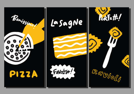 Set of flyer templates with italian food. Hand drawn doodle elements. Pizza, lasagne, spaghetti. Vector