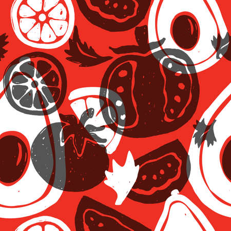 Avocado and tomato. Vector seamless pattern. Hand drawn illustration of avocado, tomato, lime. Red background
