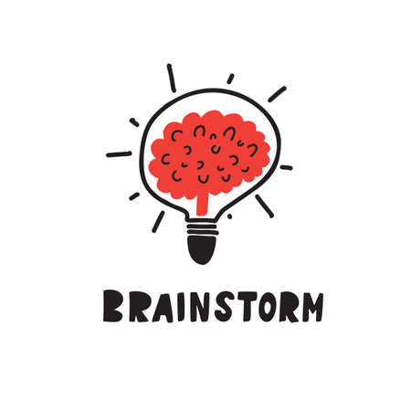 Brainstorm. Funny hand drawn illustration of brain in lamp. Typography poster. Vector illustration