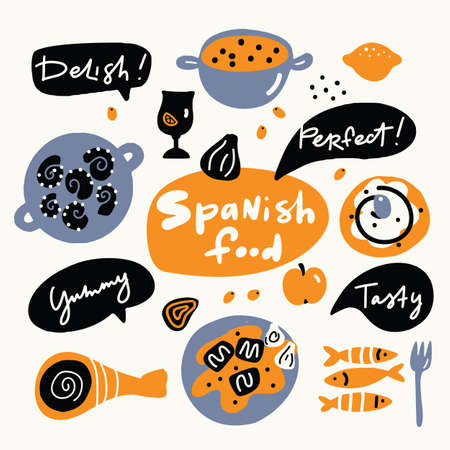 Spanish food. Hand drawn illustration, made in vector. Doodle style