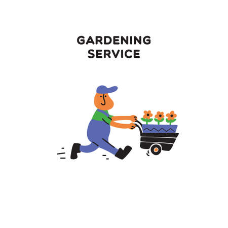 Gardening service. Vector illustration of gardener, running with cart and flowers. Doodle