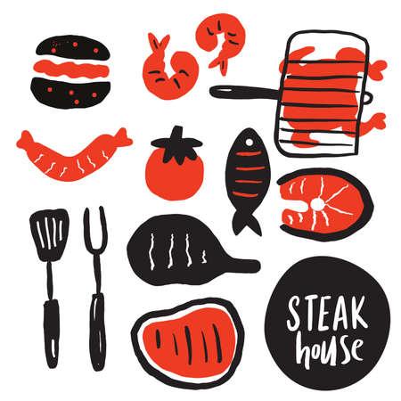 Hand drawn collection of grilled meat, steak etc. Steak house. Grill, steak restaurant menu concept. Vector. Illusztráció