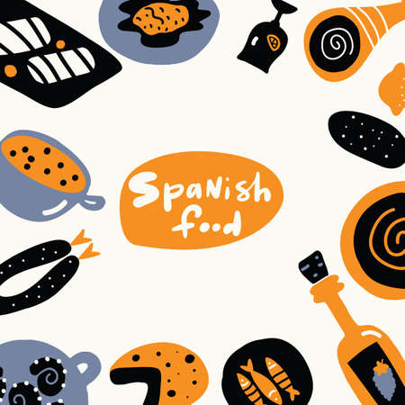 Spanish food. Hand drawn illustration, made in vector. Menu template