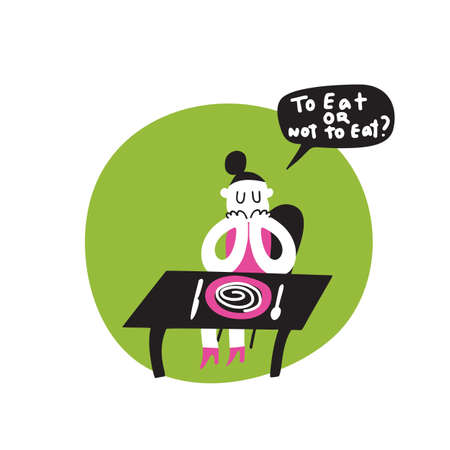 Funny vector cartoon illustration of girl, sitting with her dinner plate. Phrase to eat or not to eat. Healthy eating obsession idea