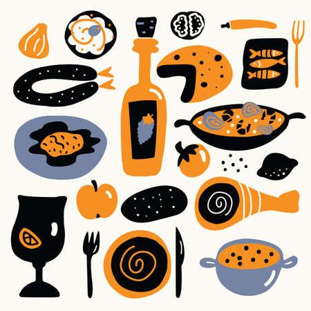 Vector cartoon illustration of mediterranean cuisine. Spanish food concept