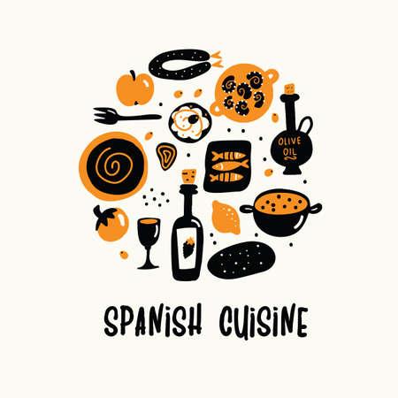Vector cartoon illustration of spanish cuisine in circle