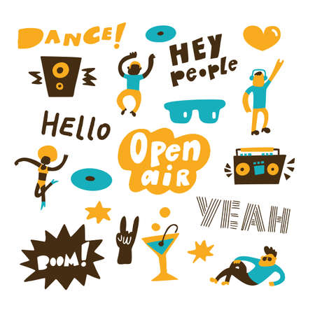 Vector illustration of dancing and relaxing people. Open air party concept, made in vector Ilustración de vector