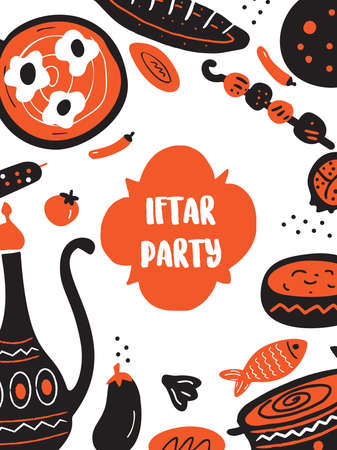 Hand drawn illustration of traditional middle eastern food for iftar party. Flyer template.