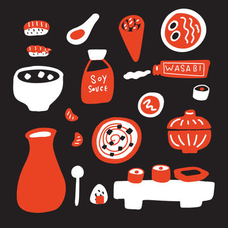 Japanese cuisine vector illustration. Hand drawn food. Isolated on black background