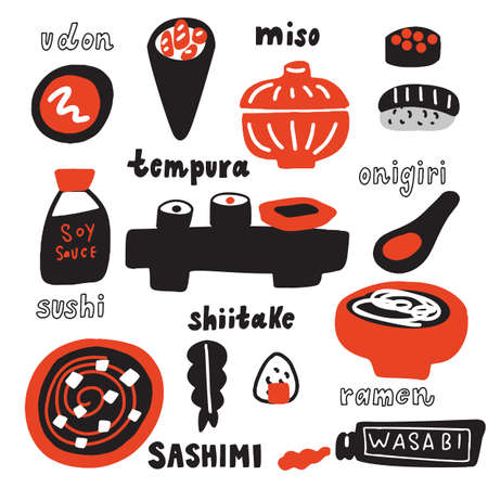 Japanese cuisine vector illustration. Hand drawn food. Isolated on white background. Typography poster