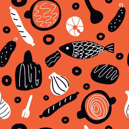 Hand drawn vector seamless foodpattern in scandinavian style