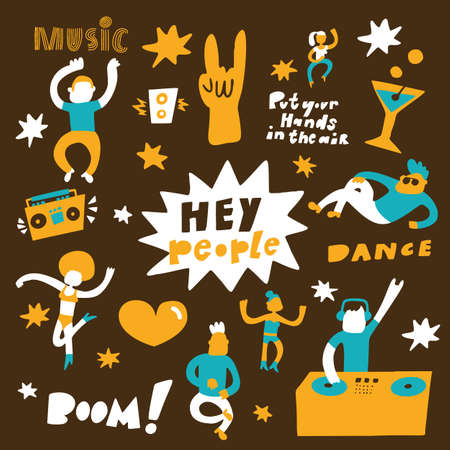 Hand drawn vector illustration of dancing people. Dance party concept. Hey people phrase Vectores