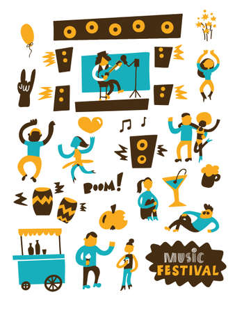 Music festival. Vector illustration of happy dancing and relaxing people