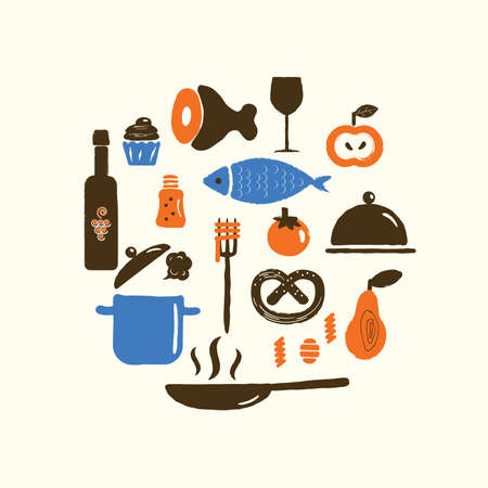 Vector illustration of food and kitchenware in circle. Cooking classes, courses concept.