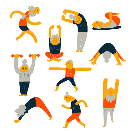 Set of senior people activity. Cartoon illustration of elderly exercising, made in vector