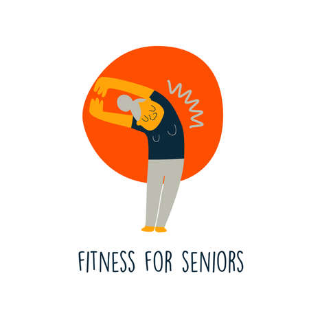 Vector illustration of senior lady, doing stretching exercise. Cartoon character. Senior fitnes concept