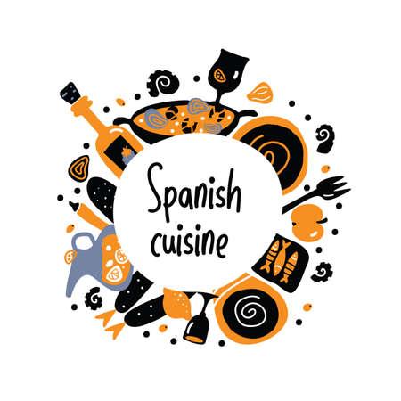 Spanish cuisine. Hand drawn vector circle food composition. Illustration
