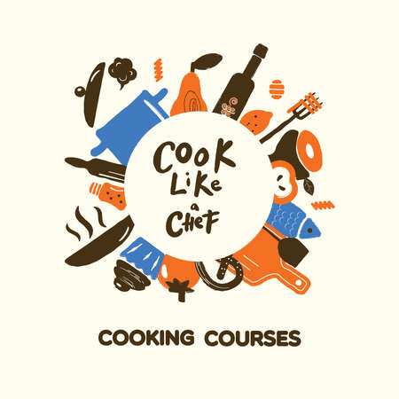 Cooking courses concept. Round border from kitchen ware and food. Vector.