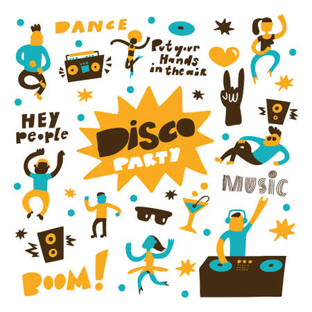 Hand drawn vector illustration of dancing people. Disco party concept. Isolated on white