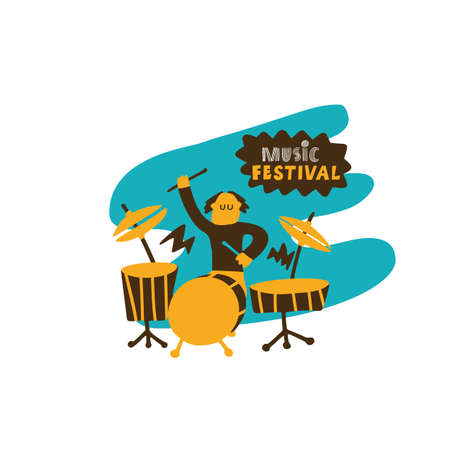 Funny hand drawn illustration of a drummer. Music festival concept. Made in vector