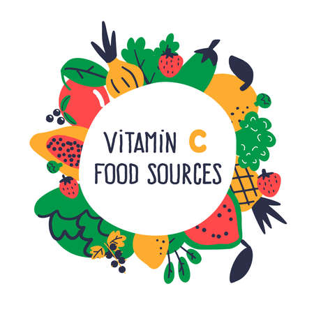 Vitamin C food sources collection. Vector cartoon illustration, isolated on white. Food round border